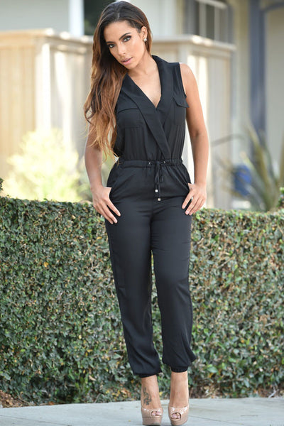 Chiffon Jumpsuit With Sexy Sleeveless V Neck Suite