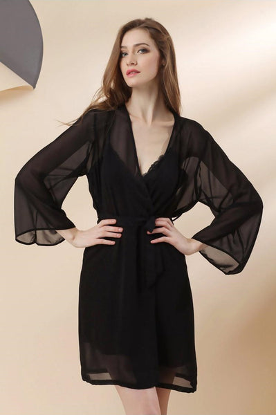 Chiffon Silk  Sleepwear Sexy Straps Nightgowns + Long Sleeves Robes Pajama Set
