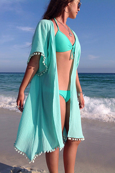 Classic Her Fashion Sky Blue Swimsuit Kimono Beach Cover up