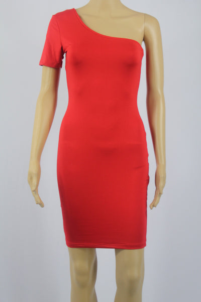 Classic Red Single Sleeve Shoulder Bodycon Mini Dress