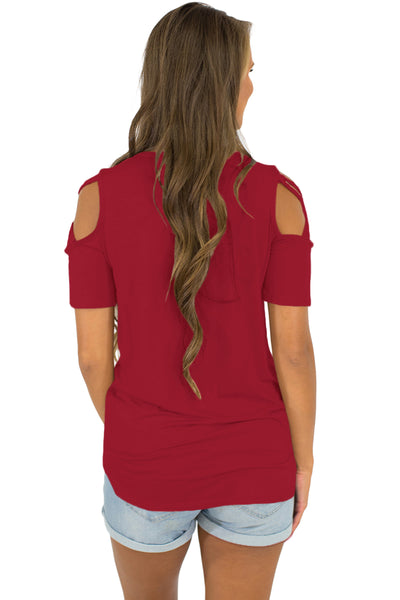 Classic Short Sleeve Shirt Burgundy Strappy Cold Shoulder Top