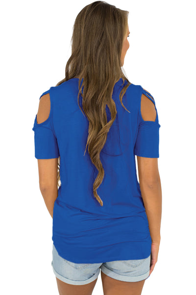 Classic Short Sleeve Shirt Royal Blue Strappy Cold Shoulder Top