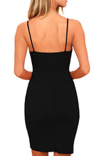 Classic Her Fashion Black Deep V Neck Sleeveless Bodycon Mini Dress