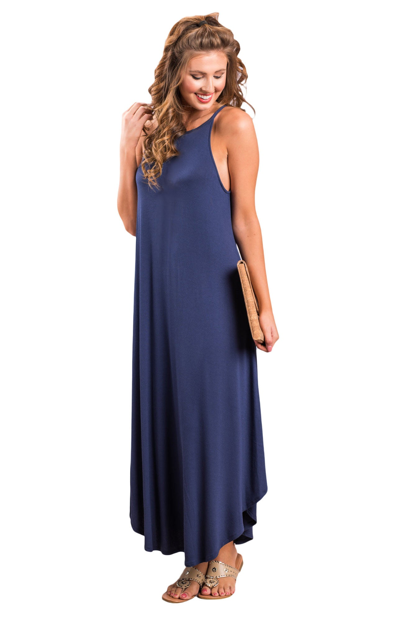 Her Fashion Blue Sexy Stylish Sleeveless Asymmetric Trim Maxi Dress