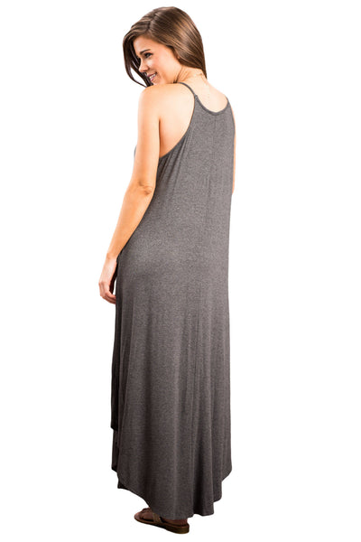 Her Fashion Grey Sexy Stylish Sleeveless Asymmetric Trim Maxi Dress
