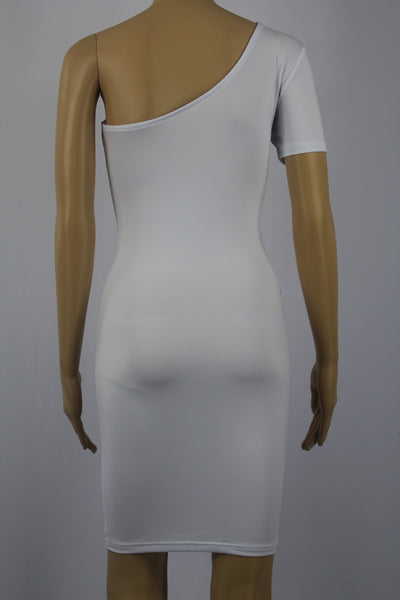 Classic White Single Sleeve Shoulder Bodycon Mini Dress