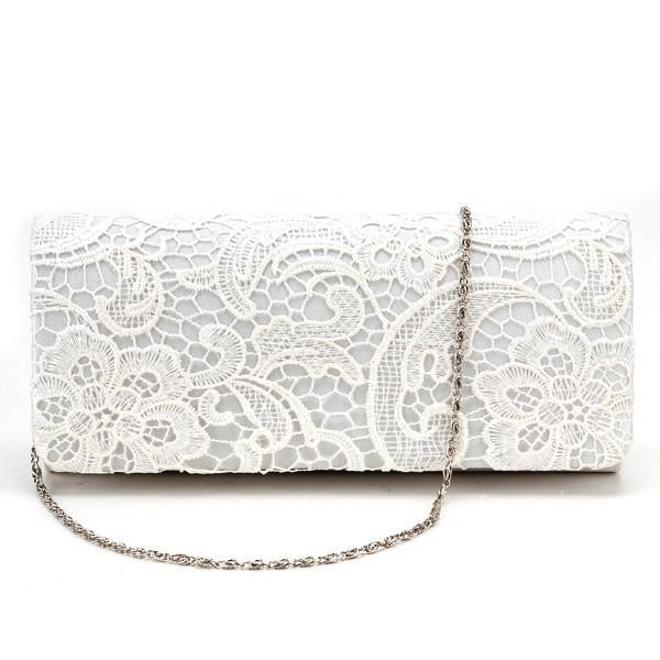 Classical Flower Satin Lace Women Clutch Wedding Bridal Evening Bags Party Clutches