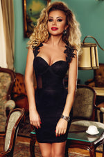 Cocktail Black Lace Applique Her Fashion Sweetheart Neck Bodycon Dress