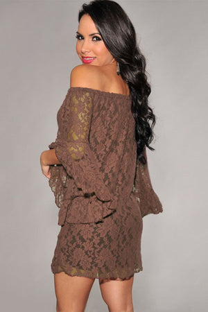 Coffee Sweet Ruffled Sleeves Lace Mini Women Dress