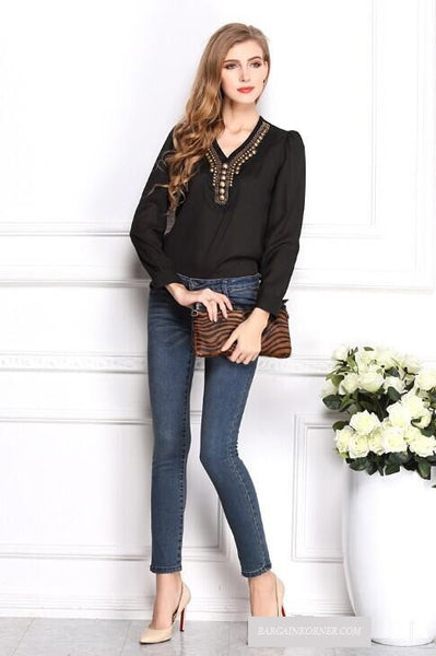 Copper Decoration Chiffon Long Sleeve Elegant Shirt  2015 New Arrival
