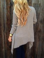 Two Tone Knit Khaki Cardigan