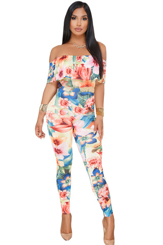 Coral Blue Floral Tropical Print HerFashion Ruffle OffShoulder Jumpsuit