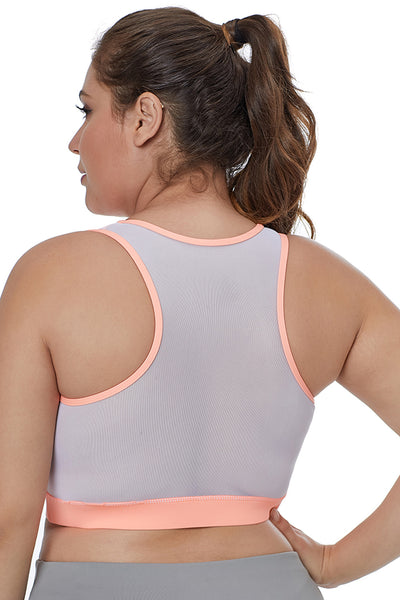 White Sheer Mesh Back Her Fashion Active Plus Size Sports Bra