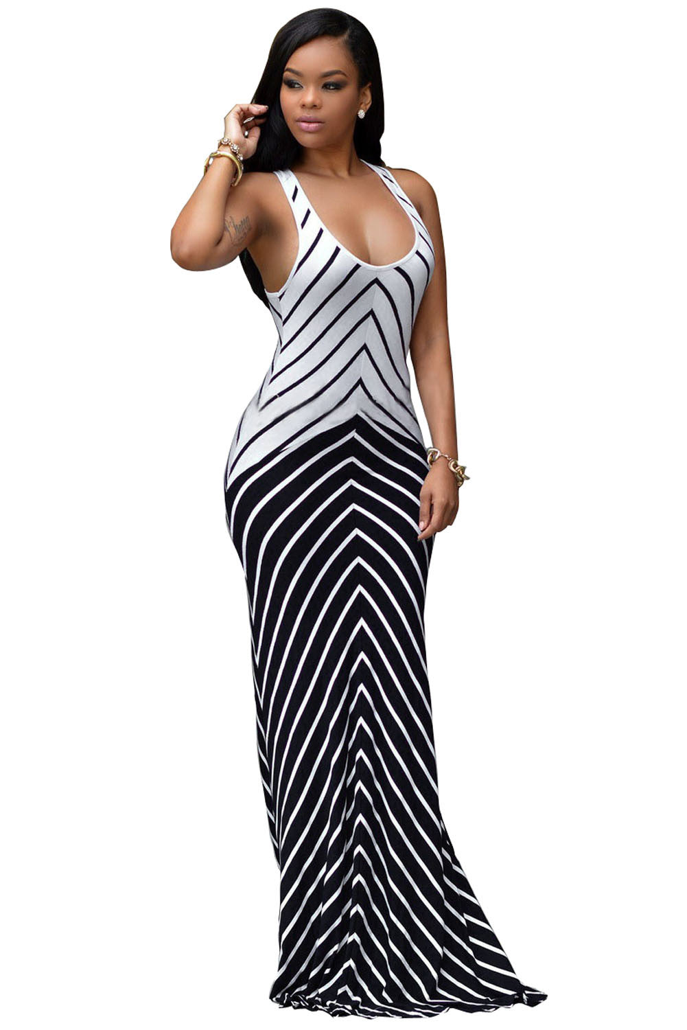Crisscross Back Impressive White Navy Stripes Maxi Dress