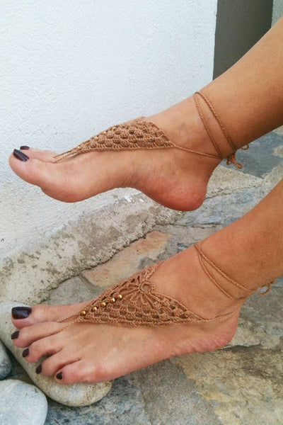 9660eb7f4472 Crochet Mix Color Barefoot Sandals