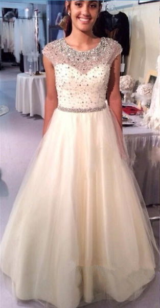 Her Crystal Beading A Line Jewel Neck Floor Length Prom Party Dresses