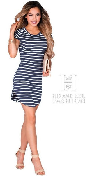 Cute Navy White Striped Short Sleeve Her Tunic Short Dress