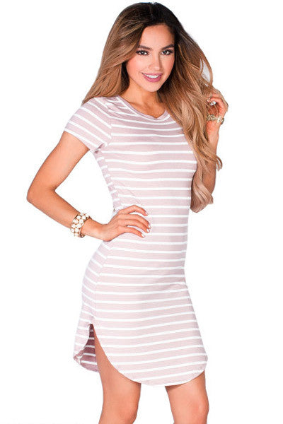 Cute Pink White Striped Short Sleeve Her Tunic Short Dress