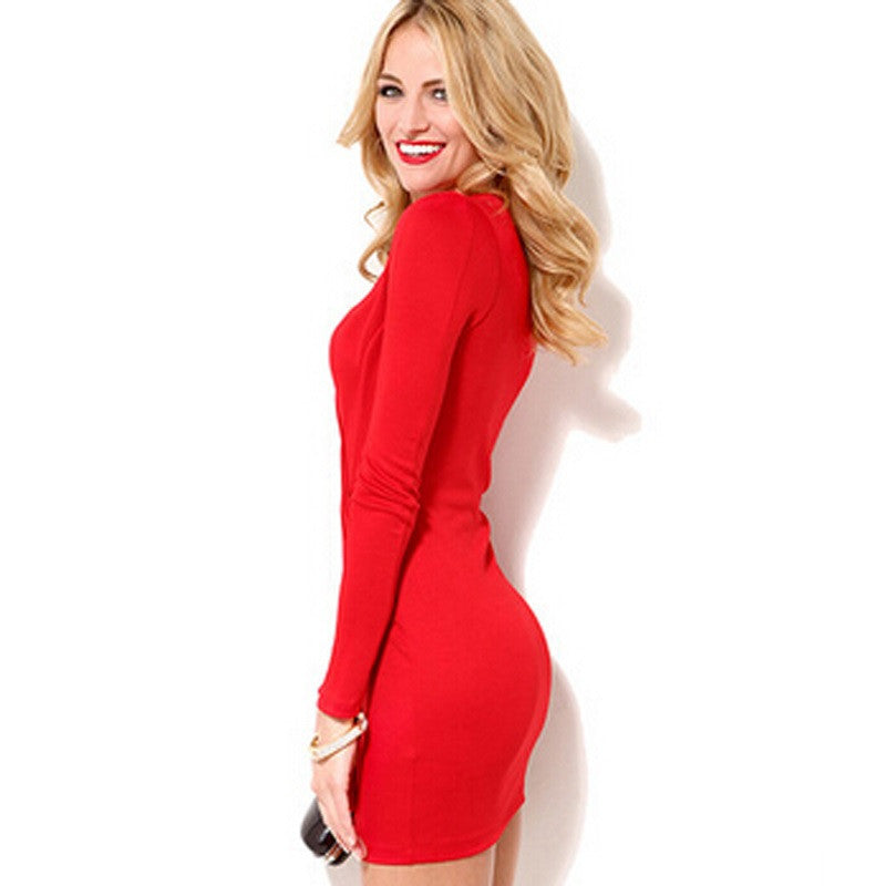 Deep V-Neck Long Sleeve Sexy Mini  Semi Formal Dress