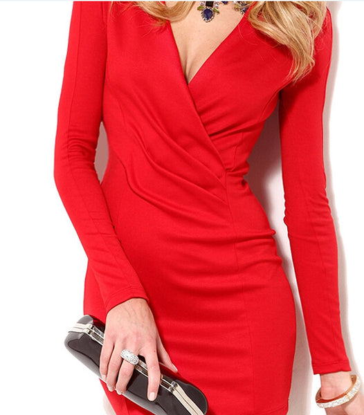 Plus Size Deep V-Neck Long Sleeve Sexy Mini  Semi Formal Dress