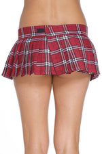 Red Schoolgirl Classic Plaid Pleated Micro Mini Skirt