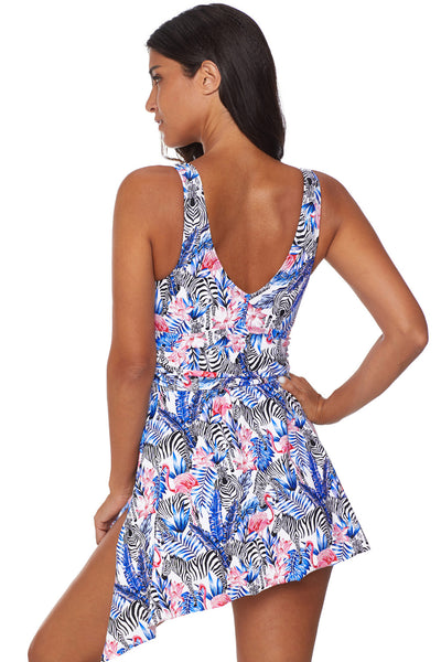 Deep V-Cut Her Fashion Swimwear Sky Blue Flower Print Swimdress