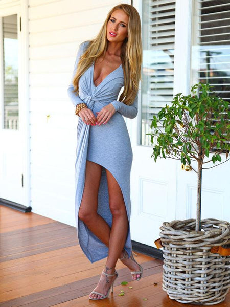 "Deep V-Neck Long Bandage Asymmetrical with Belt ""Trendy Series"" Dress"