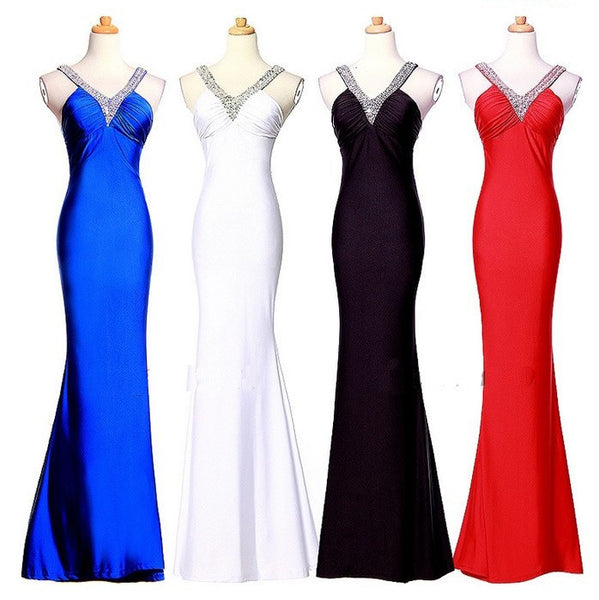 """Elegant Series"" Deep V-Neck Splice Back Cocktail / Prom Dress"