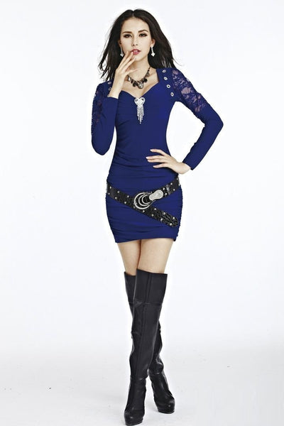 """Chic Series"" Deep V-neck Lace  Long Sleeve Slim Mini Dress"