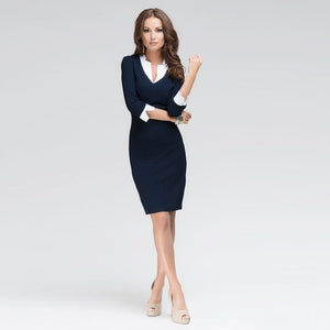 Deep V Neck Trendy Design 3/4 Sleeve Formal /Casual Women Dress