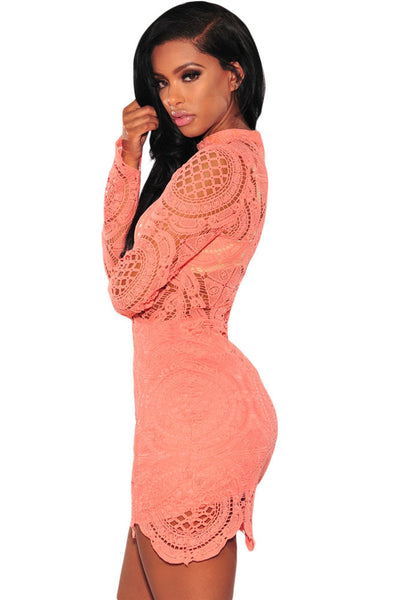 Delicately Orange Crochet Lace HerFashion Mini Dress