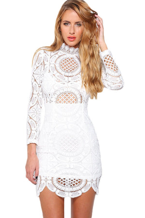Delicately White Crochet Lace HerFashion Mini Dress