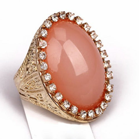 """Chic Series"" Diamante Oval Faux Gem Ring"