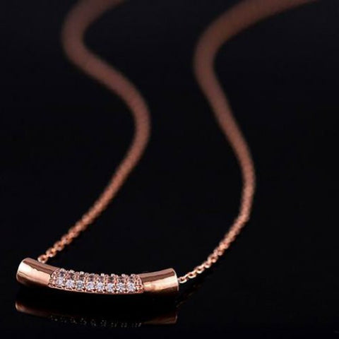 """Elegant Series"" Diamante Rhinestone Cylinder Pendant  Necklace"