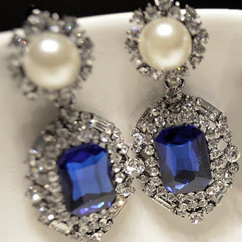 "Diamond Shape Pair of Rhinestone ""Trendy Series"" Earrings For Women"