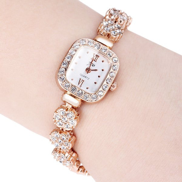 "Diamonds Analog Indicate Steel Watchband ""Impression Series"" Quartz Watch  for Women"
