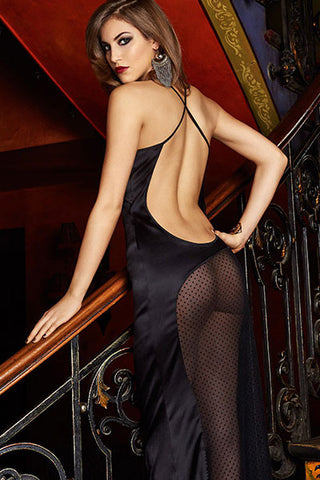 Dotted Mesh Insert Sultry Sleep Gown
