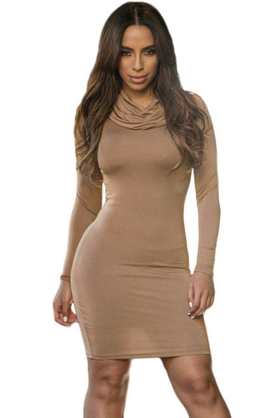 Draped Turtleneck Long Sleeved Super Soft High Stretch Mini Dress