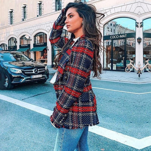 Elegant Double Breasted Red Turndown Jacket Her Fashion Woman Blazer