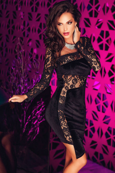 Elegant Back Zipper Asymmetric Lace and Velvet Dress