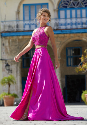 Elegant Beaded Top Her Chic Soft A-Line Two-Piece Prom Dress
