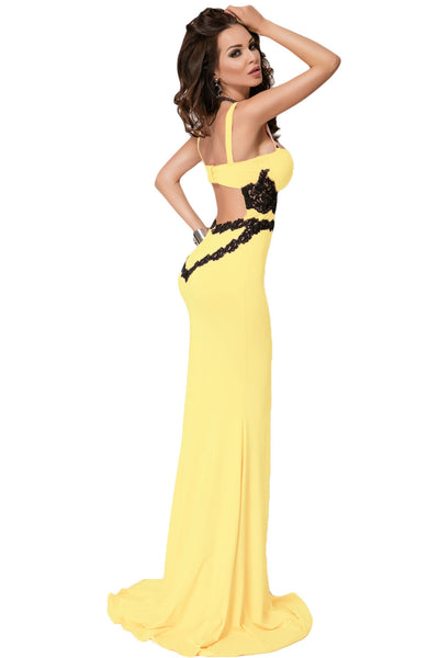Elegant Black Lace Detail Yellow Long Her Party Maxi Dress