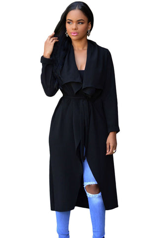 Elegant Black Lightweight Shawl Collar Trench Jacket