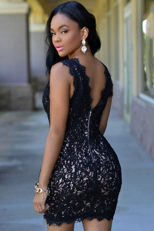 Elegant Black Plunge V Neck Exquisite Lace Crochet Mini Dress
