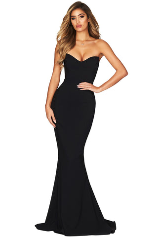 Elegant Black Strapless Her Fashion Sweetheart Neckline Mermaid Gown