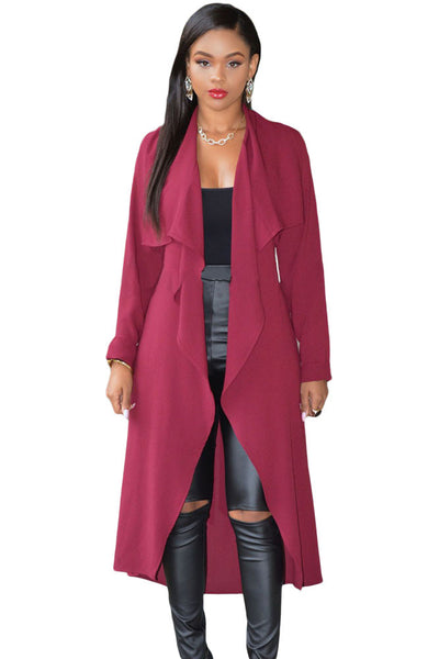 Elegant Burgundy Lightweight Shawl Collar Trench Jacket
