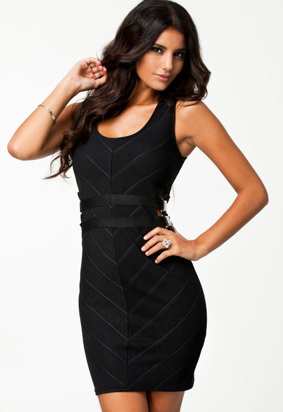 Elegant Chevron Pattern Sexy Bodycon Bandage Party Dress