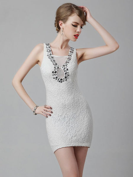 Elegant Embroidery Lace Deep V Neck Coctail Dress