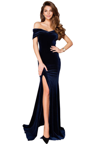 Elegant HerFashion Blue Off-shoulder Side Slit Velvet Maxi Party Dress