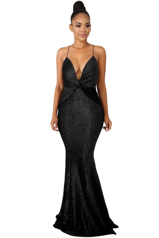 Elegant Her Fashion Black Shine Twist V-neckline Maxi Dress